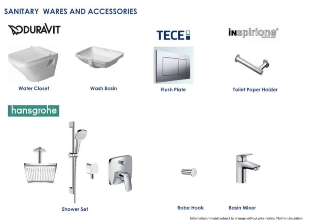 Sengkang Grand Residences Fittings Sanitary Wares