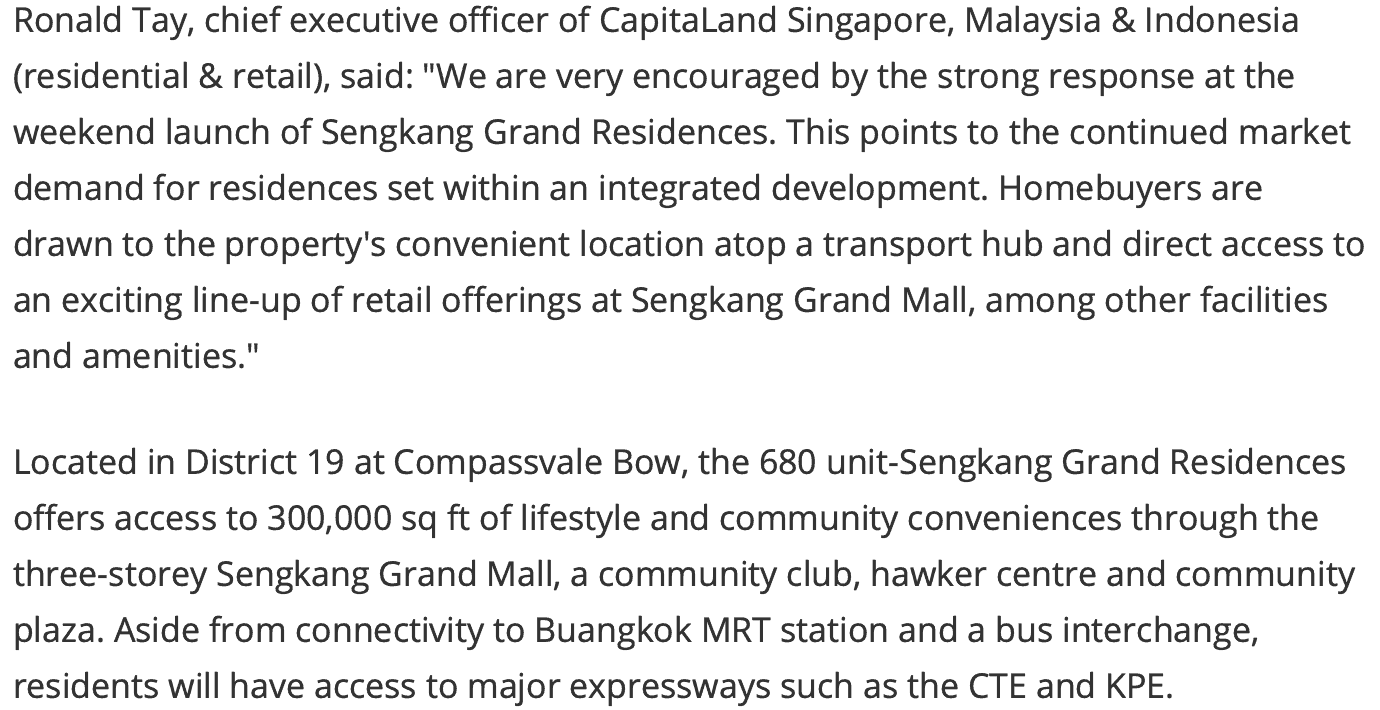 News - Sengkang Grand Residences 216 Units Sold Over Launch Weekend